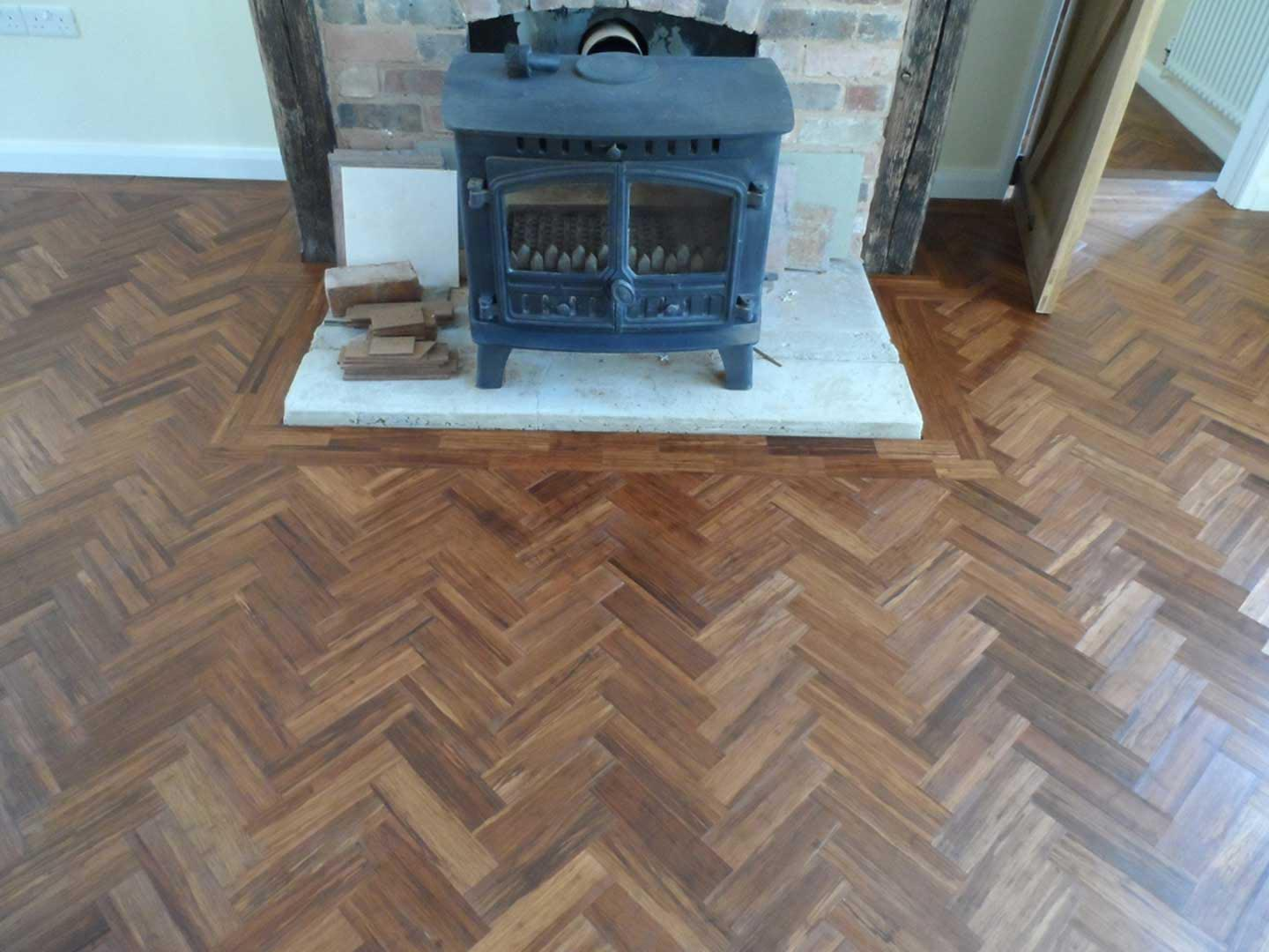 Carbonised Bamboo Parquet Strip Unfinished