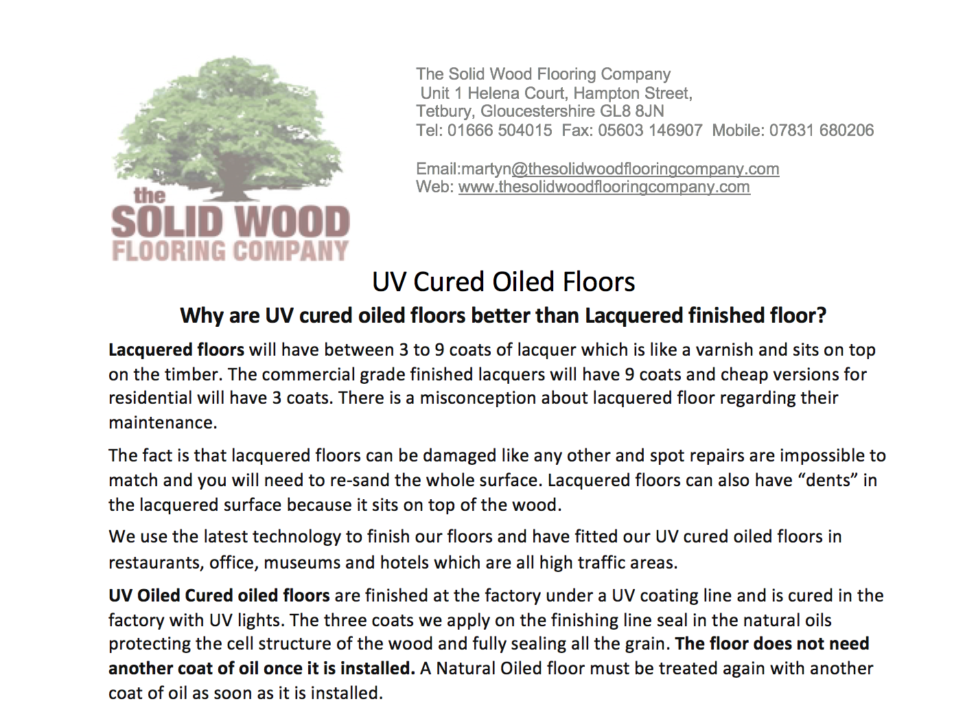 Why are UV cured oiled floors better than Lacquered finished floor?
