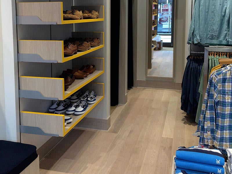Antique Natural Oak Flooring in Crew Clothing Company