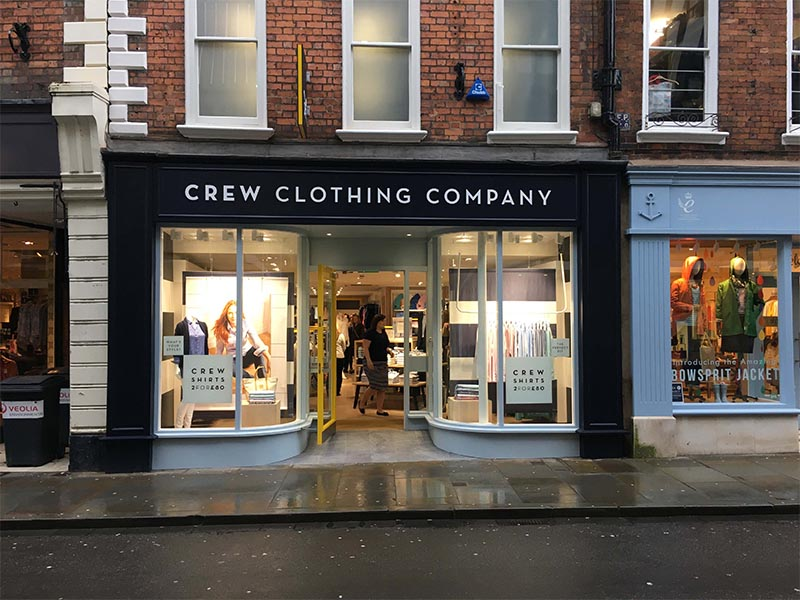 Brushed Oak Flooring in the Crew Clothing Shop